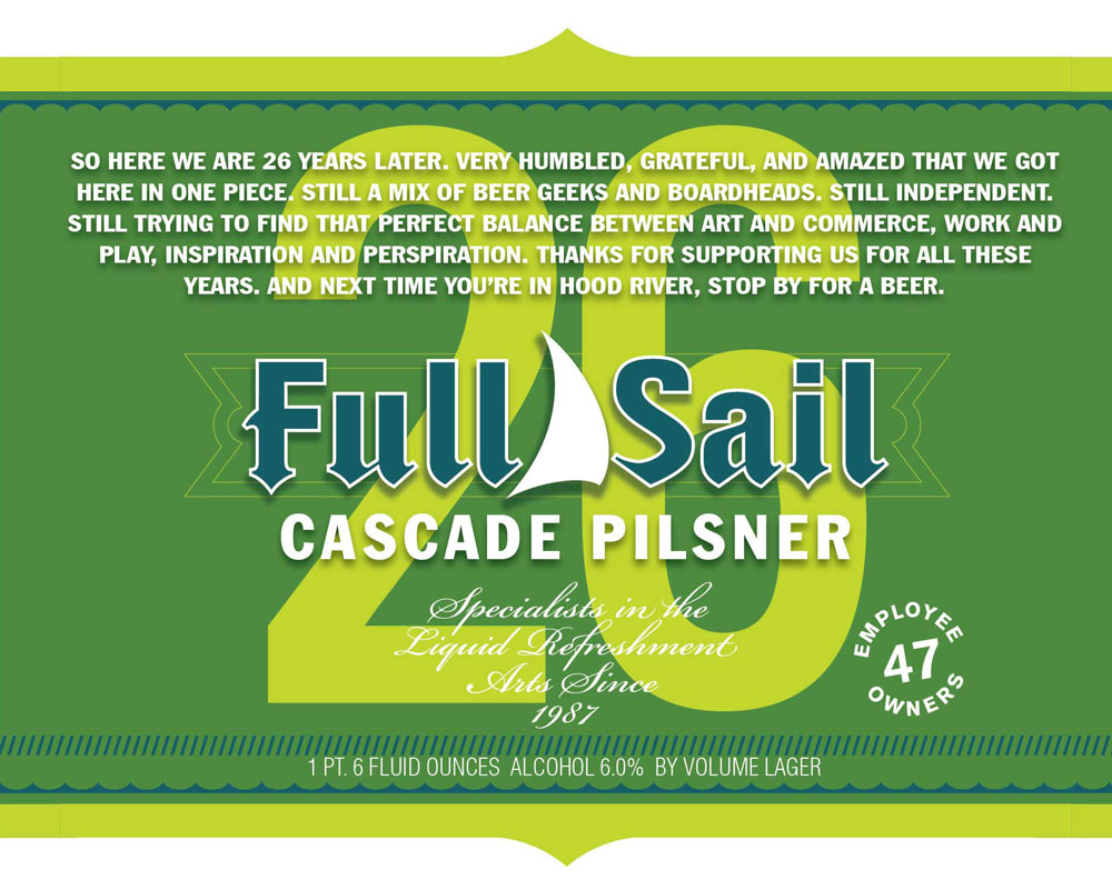 26th Wedding Anniversary Gift: Full Sail Brewing Company Releases Cascade Pilsner For